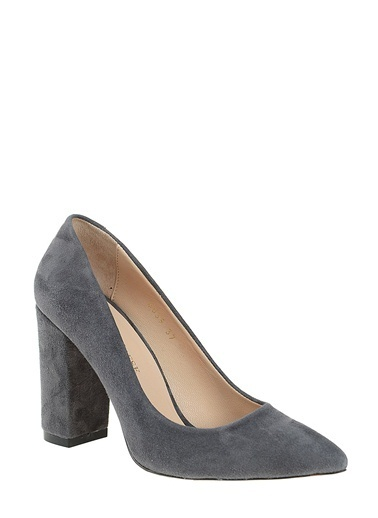 D by Divarese %100 Deri Topuklu Ayakkabı Antrasit
